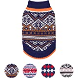Blueberry Pet Nordic Pattern Inspired Fair Isle Navy Blue Snowflakes Dog Jumper, Back Length 51cm, Pack of 1 Clothes for Dogs