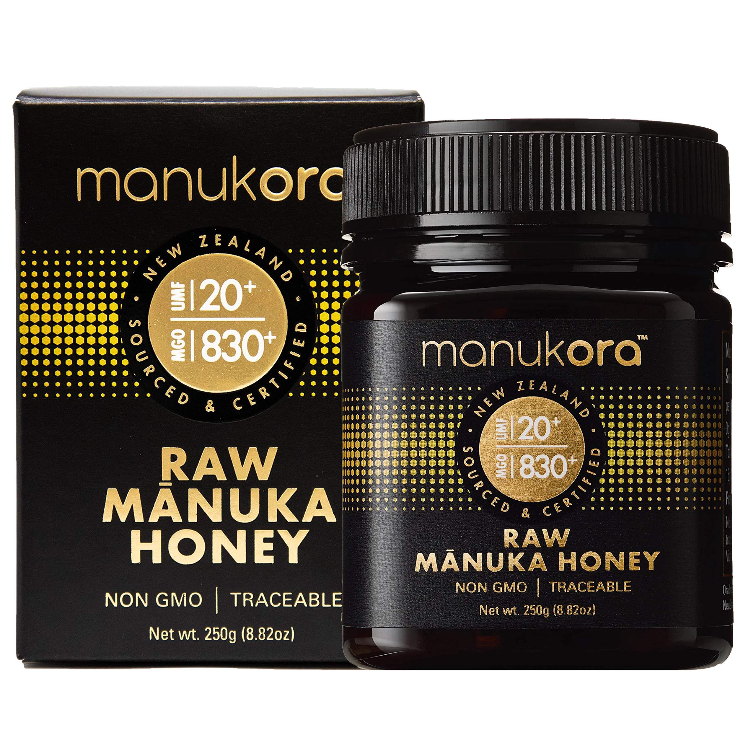 Manukora UMF 20+/MGO 830+ Raw Mānuka Honey (250g/8.8oz) Authentic Non-GMO New Zealand Honey, UMF & MGO Certified, Traceable from Hive to Hand by Manukora (Image #1)