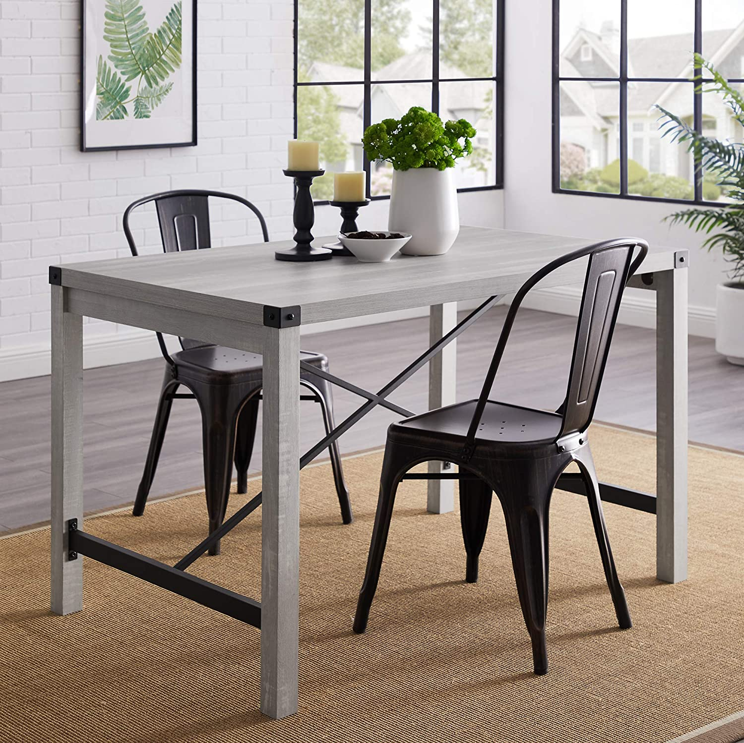 """WE Furniture Dining Table, 48"""", Stone Grey"""