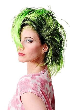 WIG ME UP ® - PW0078-1-P103PC15 Peluca Carnaval Punky verde neón bisoñe vampiro Punky glamoroso: Amazon.es: Juguetes y juegos