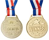 Juvale 12-Pack Bulk Olympic Style Gold Winner Award Medals with Ribbons for Sports, Competitions, Spelling Bees, Party Favors 1.5 Inches Diameter, 15.3 Inches Ribbon Length