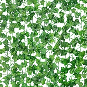 Cocoboo 18pcs Fake Vines for Room Decor Fake Leaves Artificial Ivy, Silk Ivy Garland Greenery Hanging Plant for Wedding Wall Party Bedroom Aesthetic Decor, 126Feet