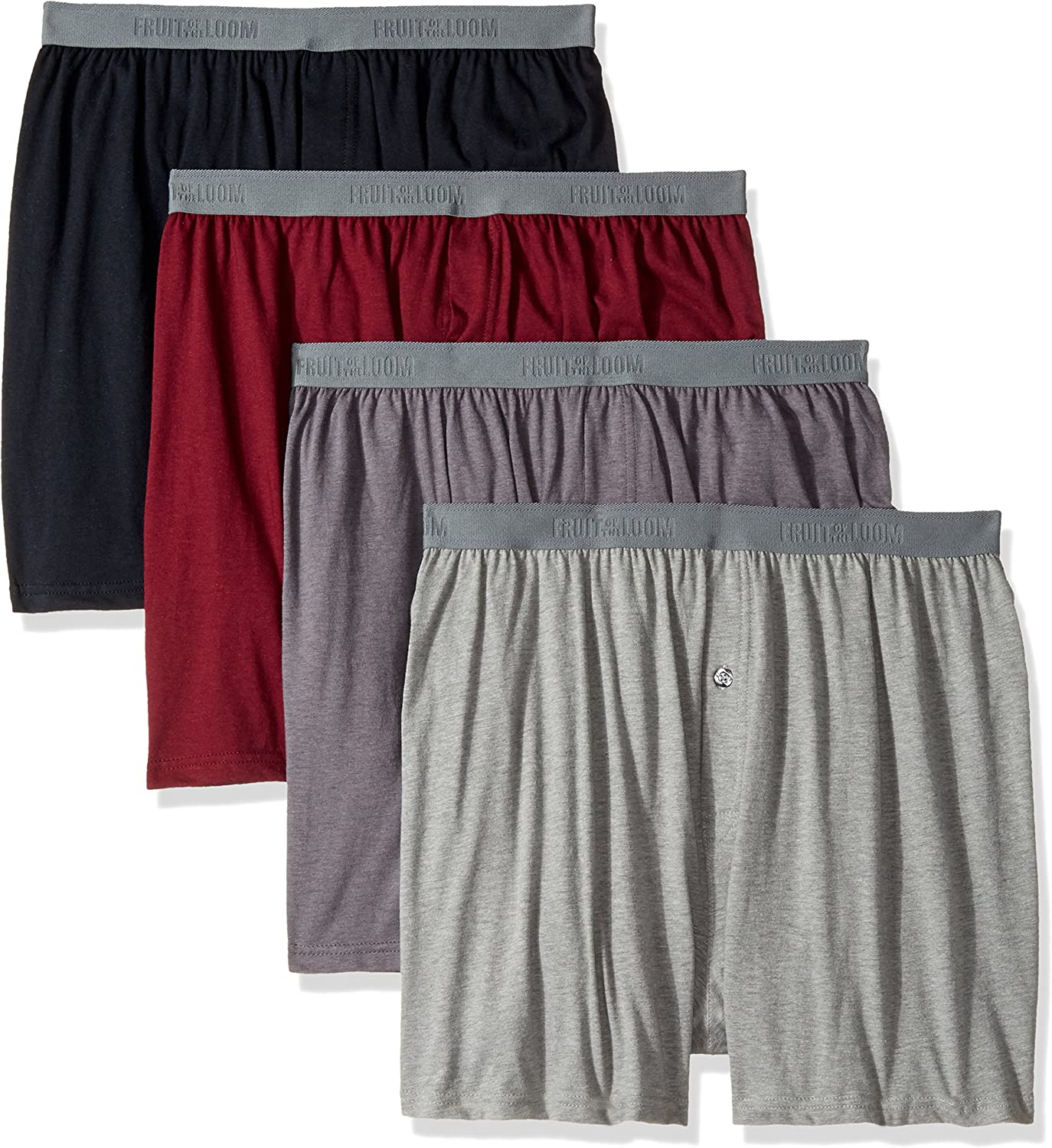 Fruit of the Loom Mens 12-Pack Knit Boxer Shorts Boxers Cotton Underwear