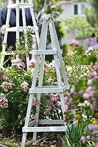 Atelier Azadeh Hardwood Garden Obelisk - 3.5ft White- for Climbing Plants, Vines, Flower Stands and Outdoor Decor