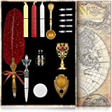 NC Upgraded Wax Seal Stamp Kit,Quill Pen Ink Set Includes Feather Dip Pen,Ink,5 Replacement Nibs,3 Wax Seal Sticks,Pen Nib Ba
