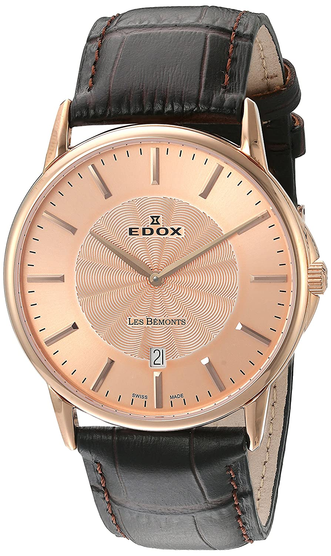 EDOX Unisex-Armbanduhr EDOX LES BÈMONTS SLIMM MOVEMENT Analog Quarz Leder 56001 37R ROIR