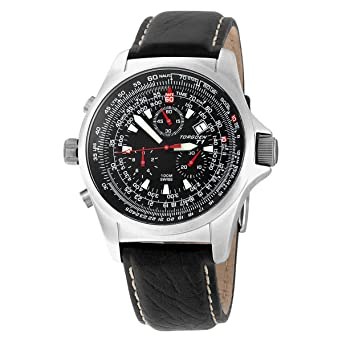 5064bf63624 Image Unavailable. Image not available for. Color  Torgoen Swiss Men s  T01102 Chronograph Pilot Computer Leather Strap Watch
