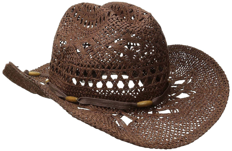 6cb5bc172 Amazon.com: Brown Stylish Toyo Straw Beach Cowboy Hat W/Shapeable Brim,  Boho Modern Cowgirl: Sports & Outdoors