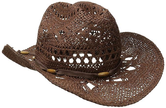 ba92c7dc36f Amazon.com  Brown Stylish Toyo Straw Beach Cowboy Hat W Shapeable ...