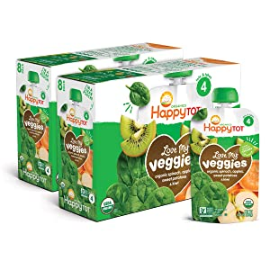 Happy Tot Organic Stage 4 Baby Food Love My Veggies Spinach Apple Sweet Potato & Kiwi, 4.22 Ounce (Pack of 8)