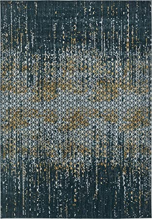 A2Z Rug Modern Abstract Teal 8 X 11 Monaco Collection Area