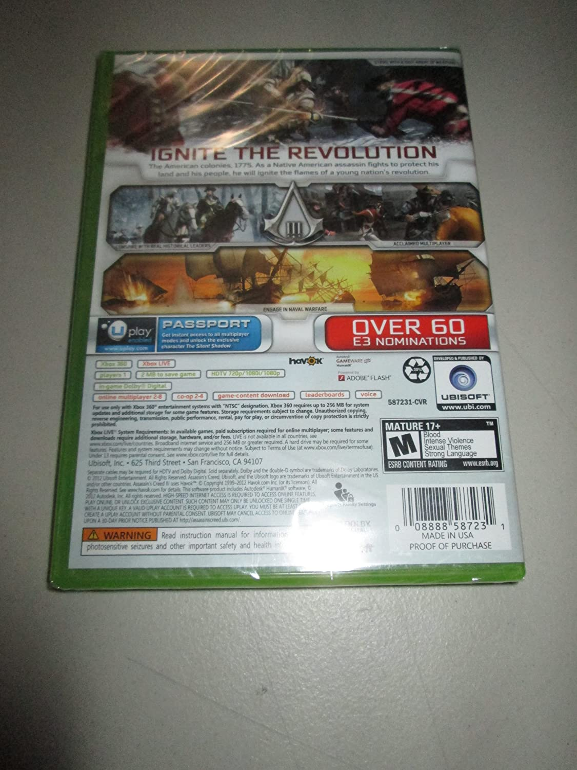 Amazon: Assassin's Creed Iii (target Edition) (xbox 360, 2012): Video  Games