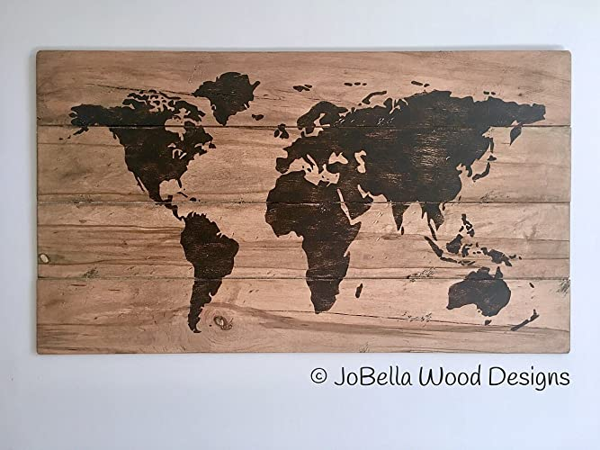 ae07b337440b Image Unavailable. Image not available for. Color  Rustic Multiplank World  Map ...