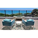 Brown Jordan Prime Label Outdoor Furniture Rug 8x10 Seneca Collection Sisal Woven Modern Patio Rugs, Grain, Large