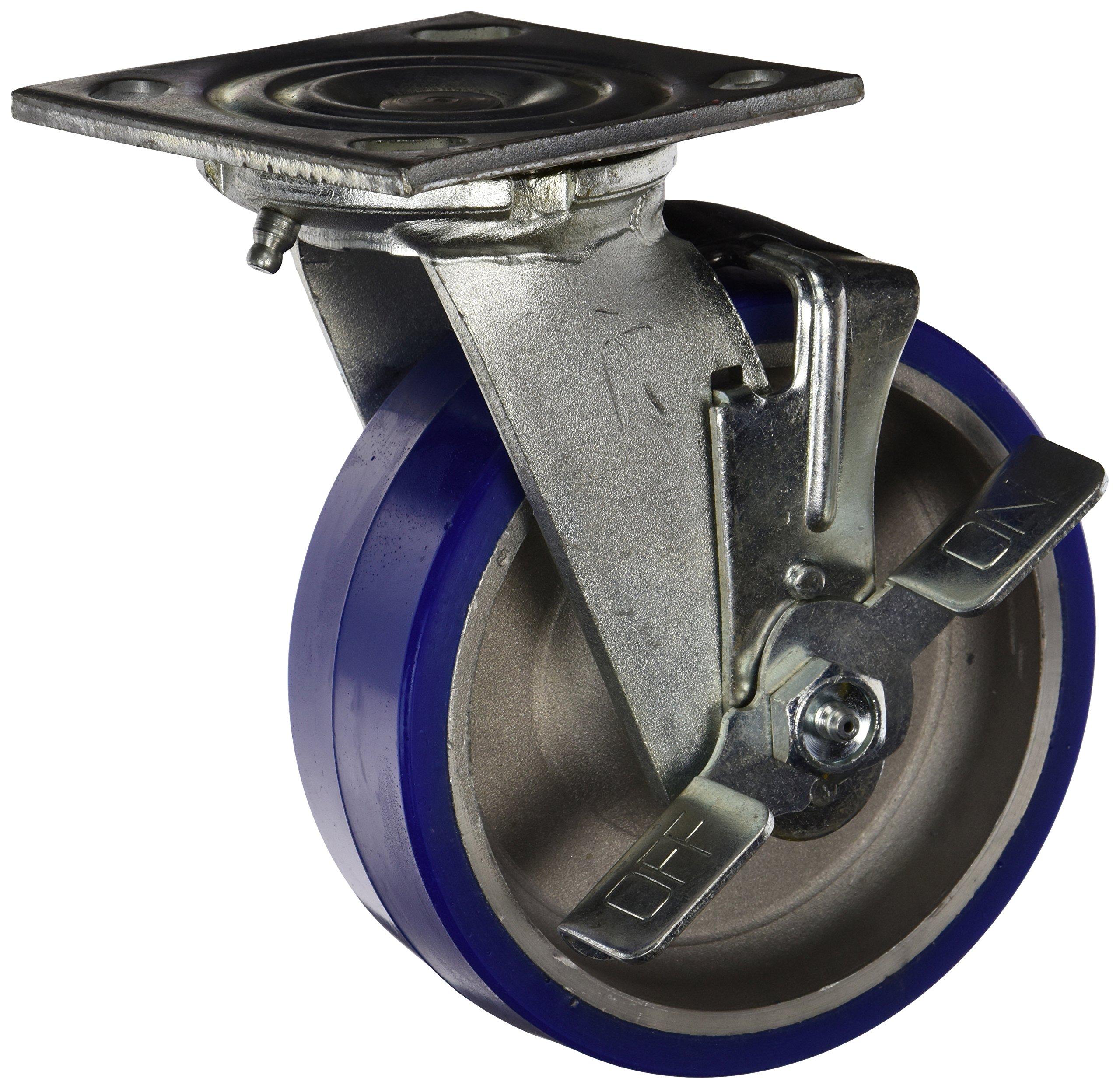 Jarvis 6-81-720 BRK PLT1 Swivel Plate Caster with Brake, 1000-Lbs. Capacity, Moldon Polyurethane/Aluminum Core, Bright Zinc Plating