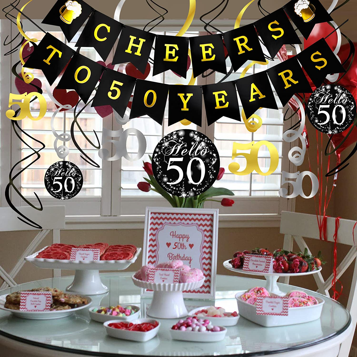 Amazon Konsait 50th Birthday Decorations Kit Cheers To 50 Years Banner Swallowtail Bunting Garland Sparkling Celebration Hanging SwirlsPerfect