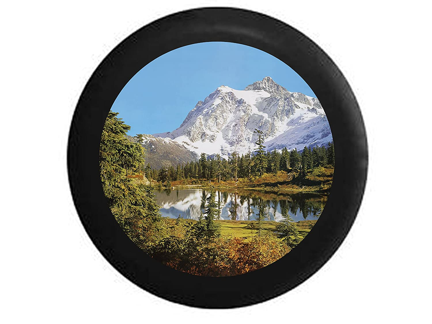 Full Color Snowy Mountain overlooking Pine Forest and Calm Lake Spare Tire Cover Black 31 in Pike Outdoors