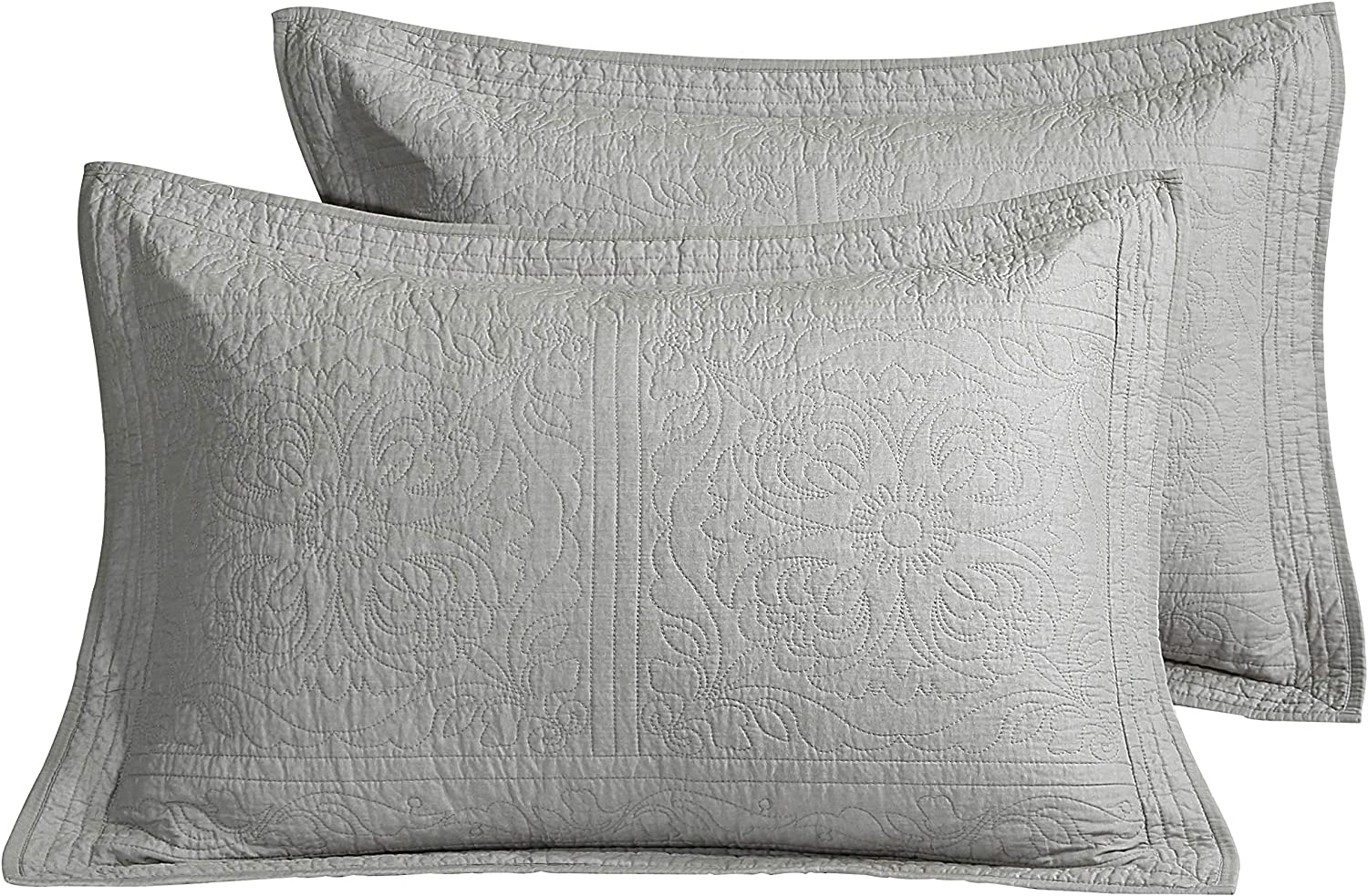 Winlife 100 Cotton Quilted Pillow Sham Floral Printed Pillow Cover Grey Home Kitchen