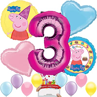 Peppa Pig Party Supplies Balloon Decoration Bundle for 3rd Birthday: Toys & Games