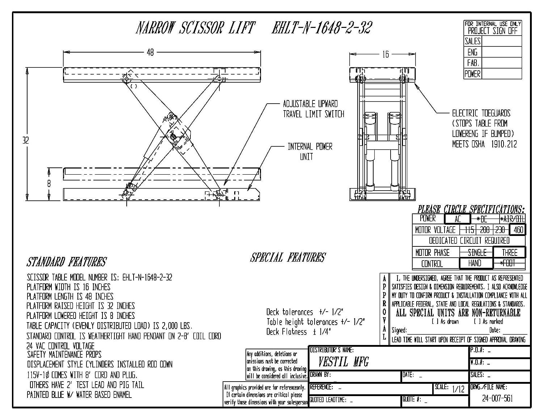 Vestil EHLT-N-1648-2-32 Electric Hydraulic Narrow Lift, 2000 lb, 8