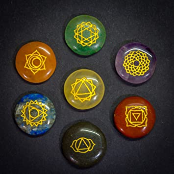 7 Chakra Stones Set In Pouch With Chakra Symbols And Meanings