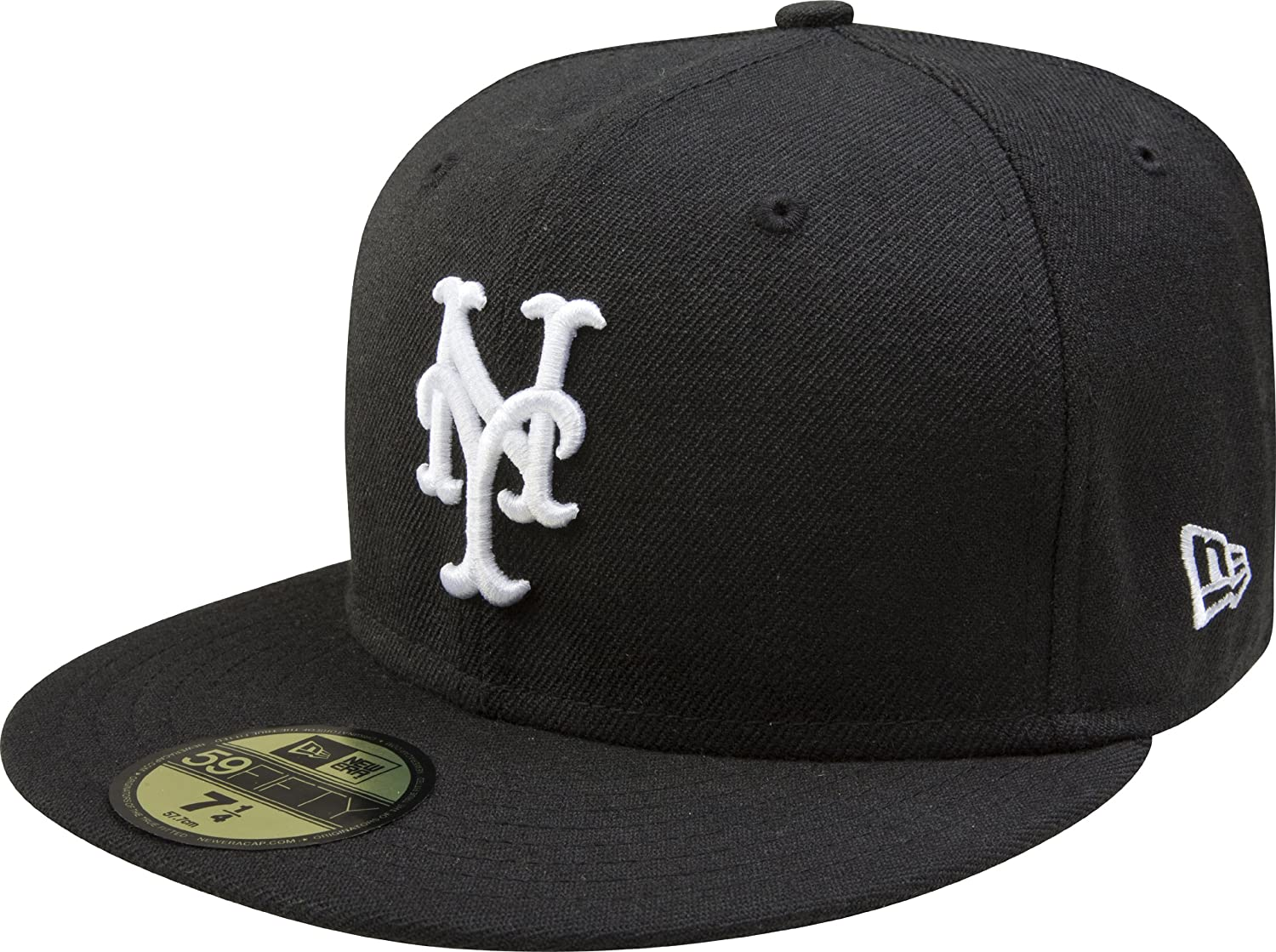 905e56b7e59 Amazon.com   MLB New York Mets Black with White 59FIFTY Fitted Cap   Sports  Fan Baseball Caps   Sports   Outdoors