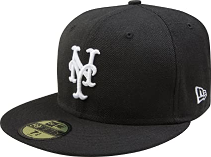 newest e8c63 3f7bd MLB New York Mets Black with White 59FIFTY Fitted Cap, 6 7 8