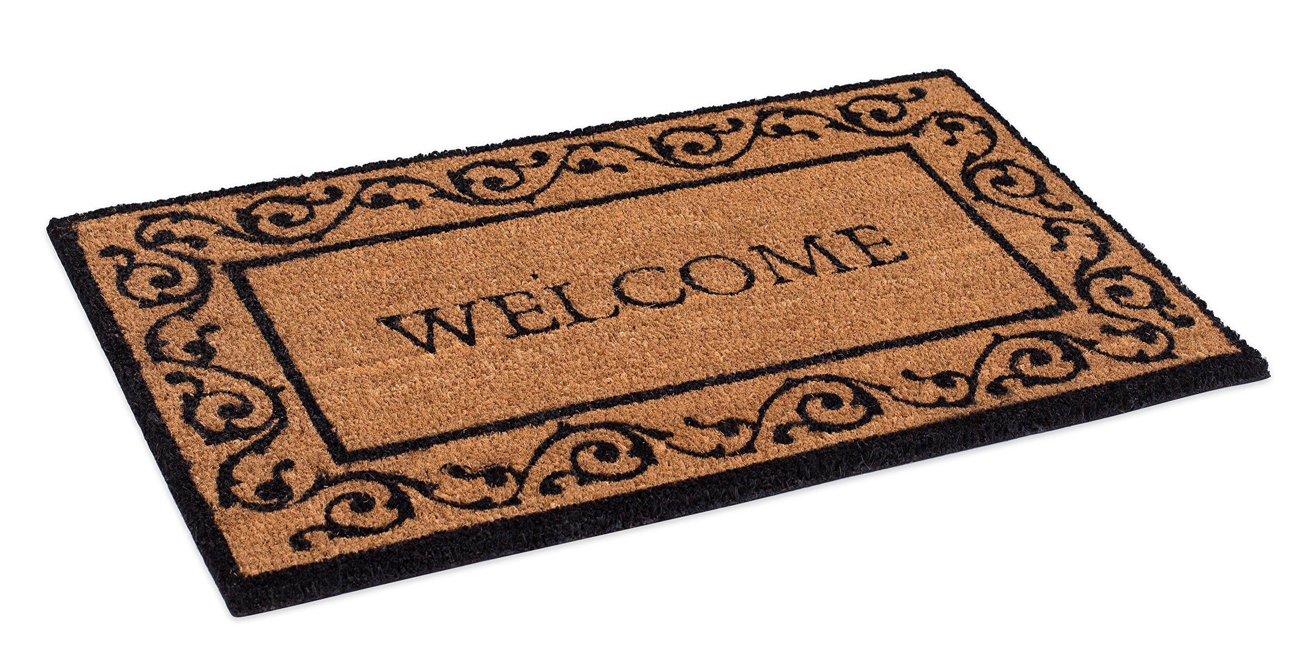 BirdRock Home Welcome Coir Doormat with Scroll Border | 18 x 30 Inch | Standard Welcome Mat with Black Decorative Border | Natural Fade | Vinyl Backed | Outdoor