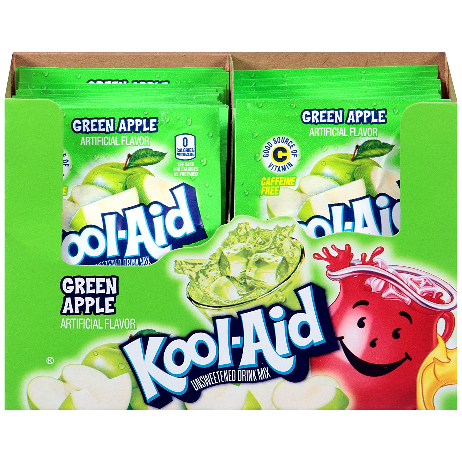 Kool-Aid Green Apple Flavored Unsweetened Caffeine Free Powdered Drink Mix (192 Packets)