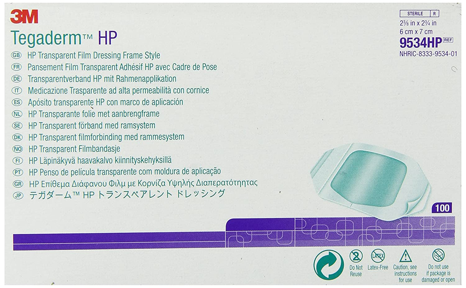 3M Tegaderm HP (Holding Power) Transparent Film Dressing Frame Style 9534HP (Pack of 400)