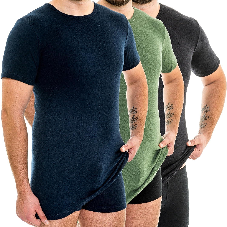 maglietta a manica corta da uomo Hermko 3847 extra lunga 10 cm in pi/ù confezione da 3 pezzi