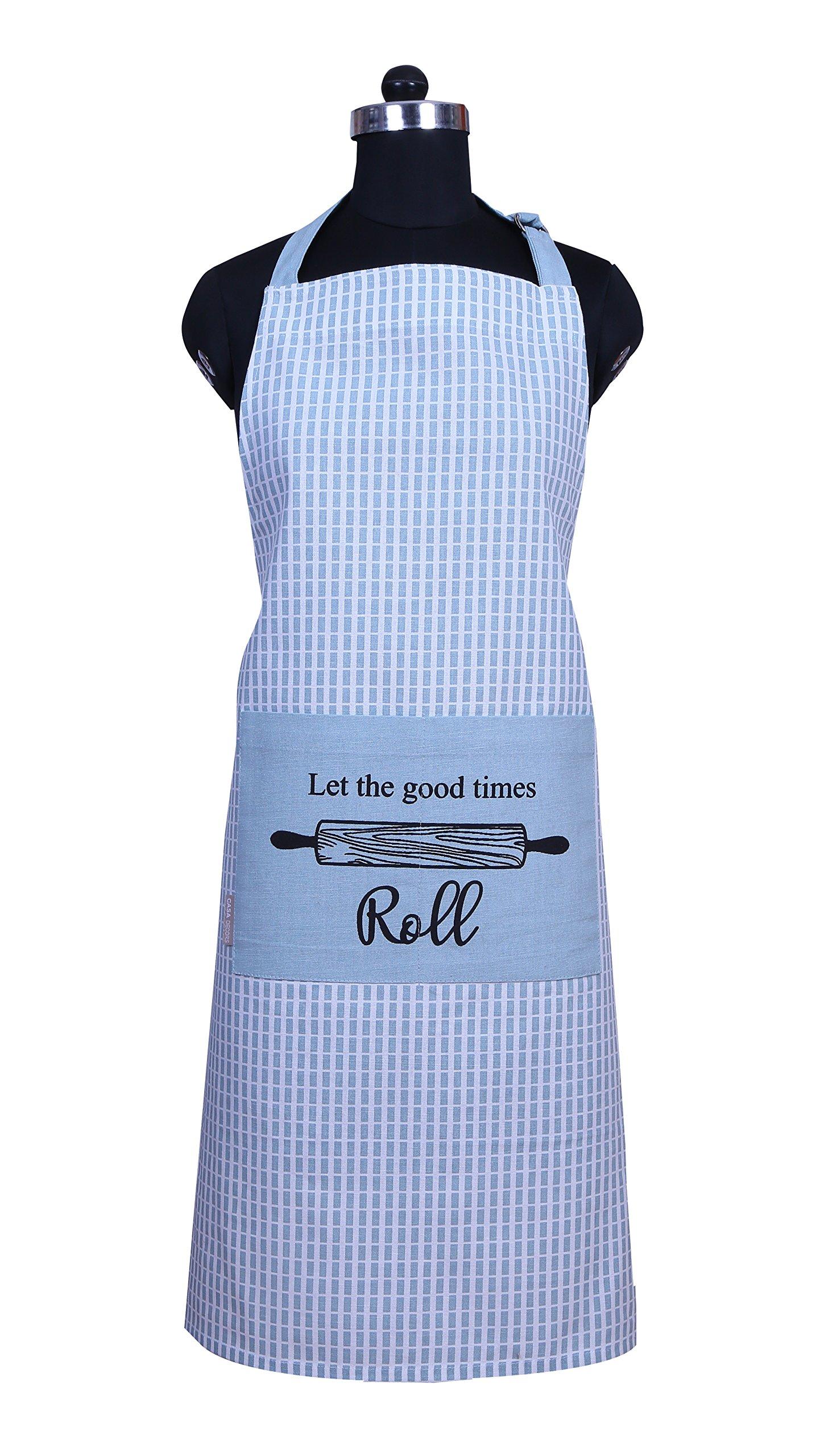 CASA DECORS Apron, Baking Fun Design, Aprons Women Pockets, 100% Natural Cotton, Eco-Friendly & Safe, Adjustable Neck & Waist ties