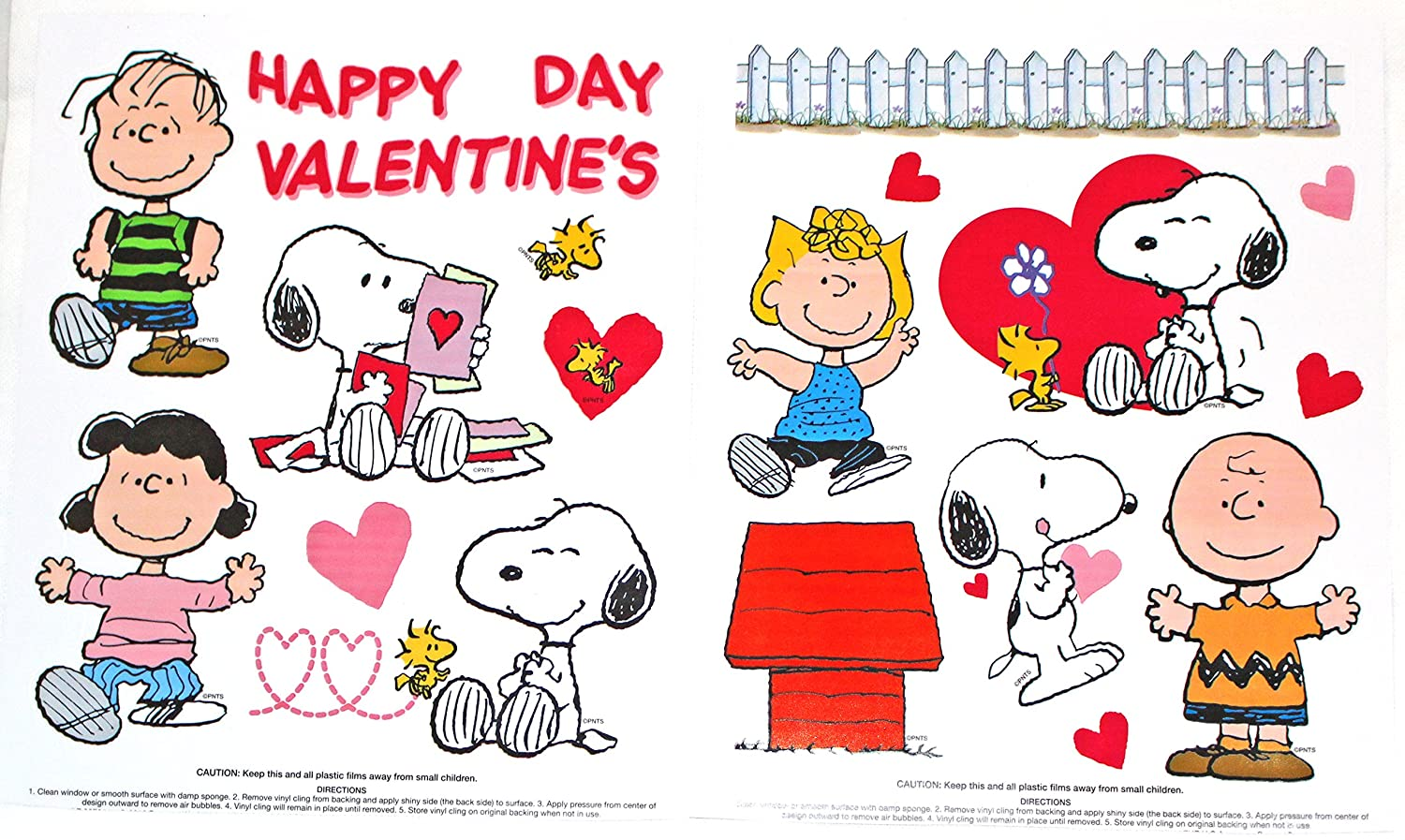 Happy Valentine\'s Day Peanuts Characters Charlie Brown, Lucy, Snoopy Vinyl Window Clings UFS