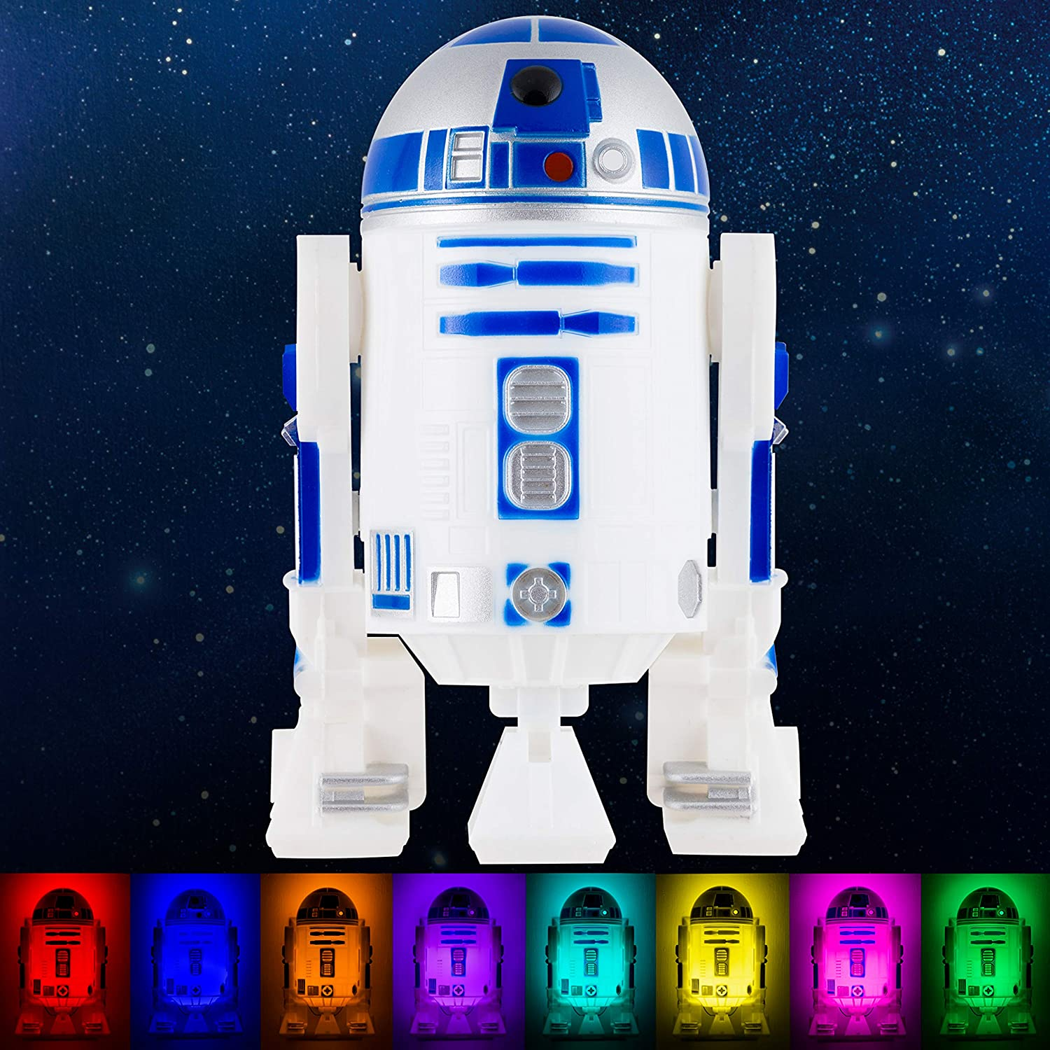 Star Wars R2-D2 LED Night Light, Color Changing, Collector's Edition, Dusk-to-Dawn Sensor, Plug-in, Disney, Galaxy, Ideal for Bedroom, Bathroom, Nursery, Hallway, 43669