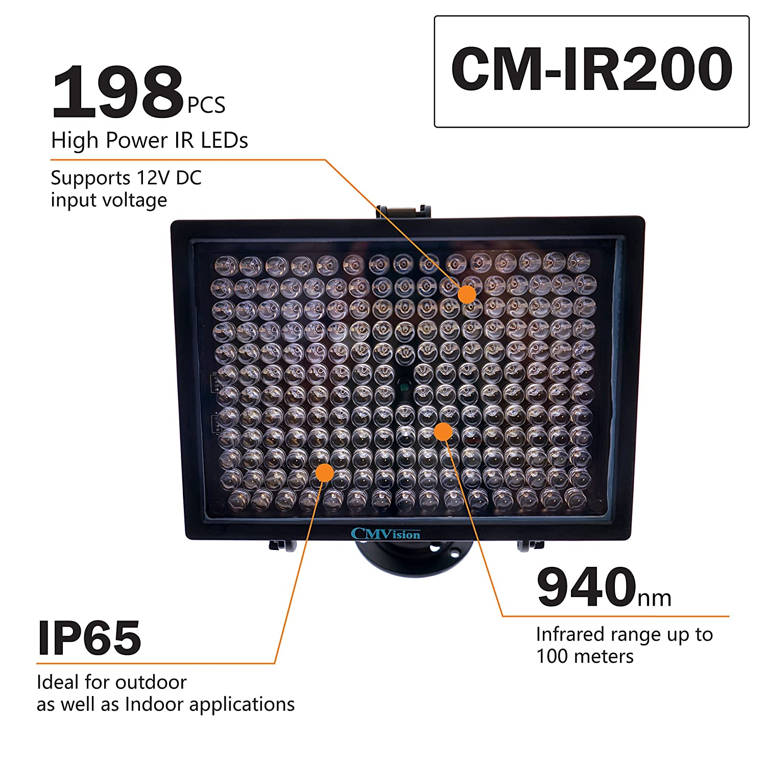 Cmvision Ir200 198 Ir Led Night Indoor Outdoor Long Wiring Circuit Diagram Range 300ft Illuminator W Free 12v Power Adapter Up Down Position Adjustment Only