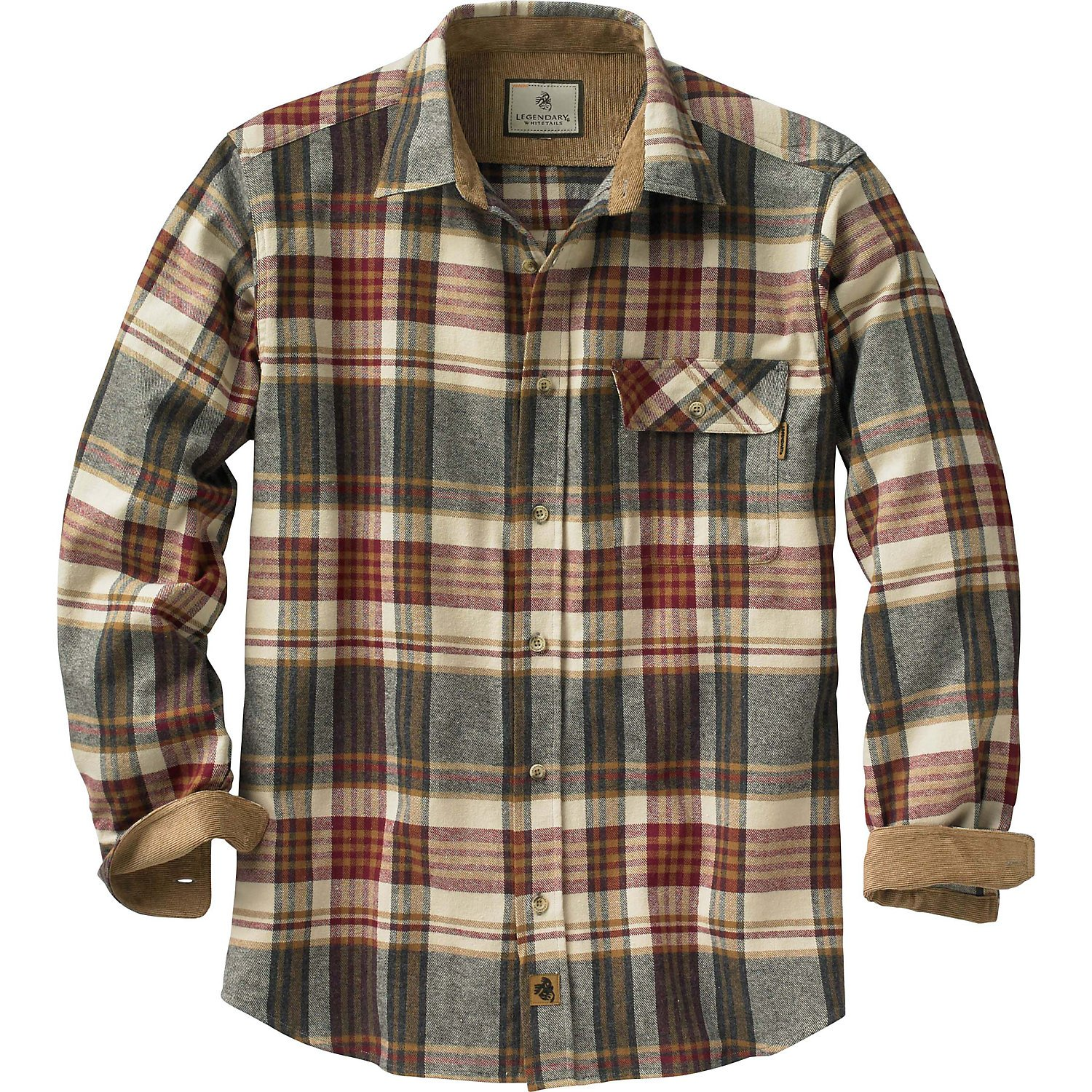 Legendary Whitetails Buck Camp Flannels Cedarwood Plaid Large
