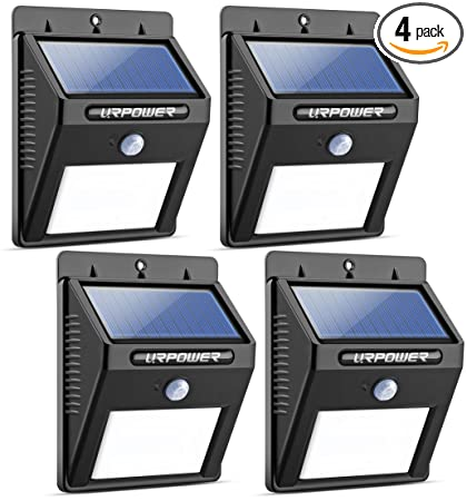 urpower solar lights wireless waterproof motion sensor outdoor light for  patio, deck, yard, garden with motion activated auto on/off (4-pack) - -  amazon com