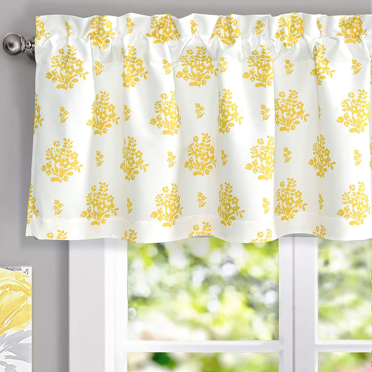 DriftAway Rina Vintage Floral Botanical Pattern Thermal Insulated Lined Rod Pocket Window Curtain Valance for Kitchen Café Living Room 52 Inch by 18 Inch Plus 2 Inch Header Yellow
