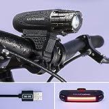 BerlinStandard USB wiederaufladbares Fahrradlicht LED Set | Fahrradbeleuchtung  | Superhelle Frontlicht und Rücklicht | Einfache Montage am Rahmen | Max Sicherheit für Nachtfahrer | Universal Fit