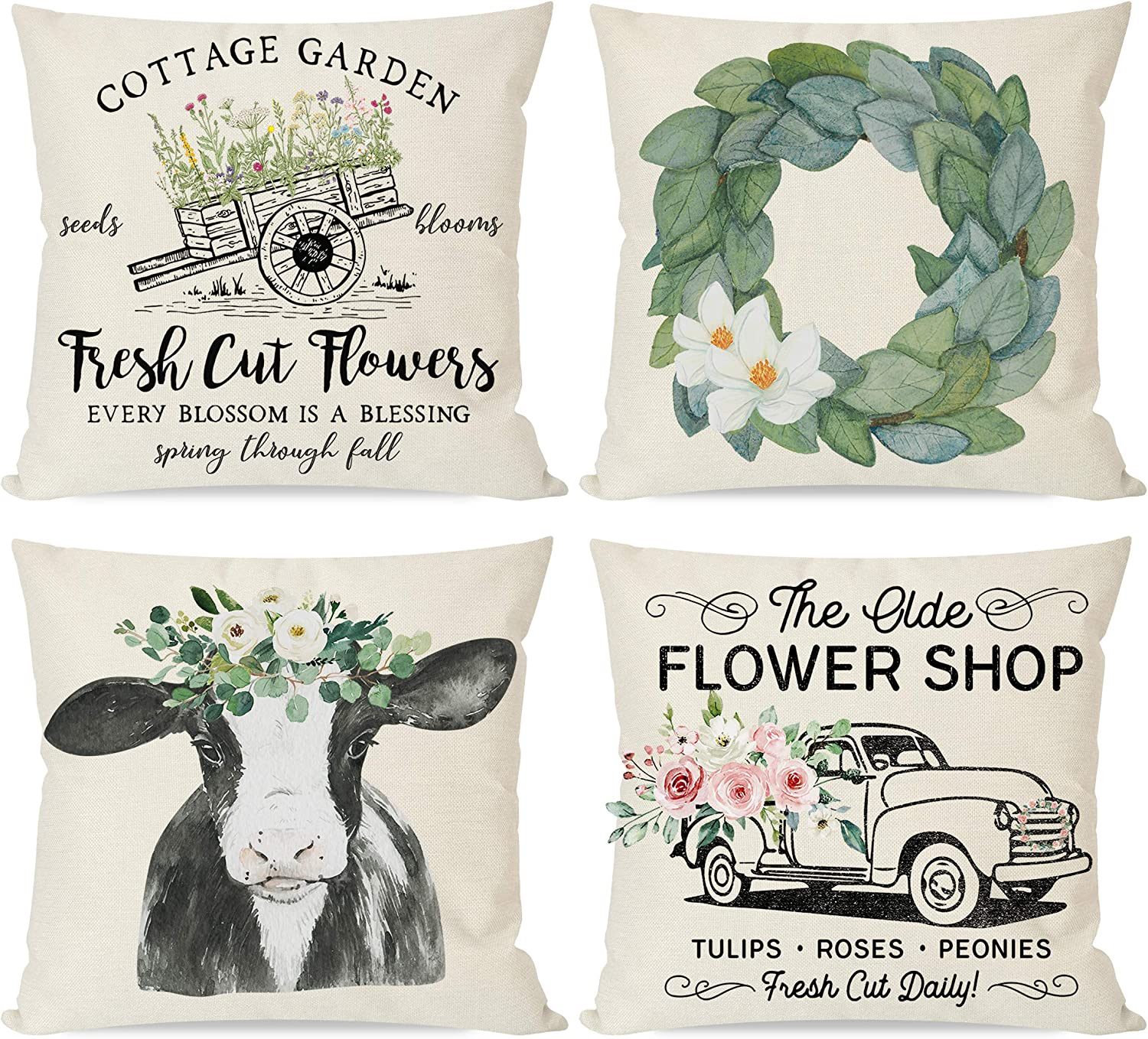 PANDICORN Spring Pillow Covers 18x18 Set of 4 for Home Decor, Farmhouse Magnolia Wreath Country Cow, Vintage Flower Floral Truck, Rustic Decorative Throw Pillow Cases for Outdoor Porch Decorations