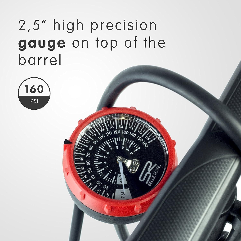 Floor Pump with Gauge Auto Presta /& Schrader Ready 160psi Ball//Bladder Needle