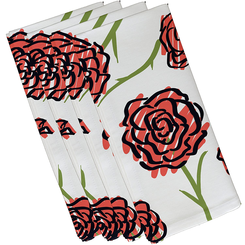 Coral Floral Print Napkin 19 x 19 E by design Spring Floral 1