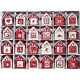 Red and White Scandinavian Wooden Birdhouse Advent Calendar