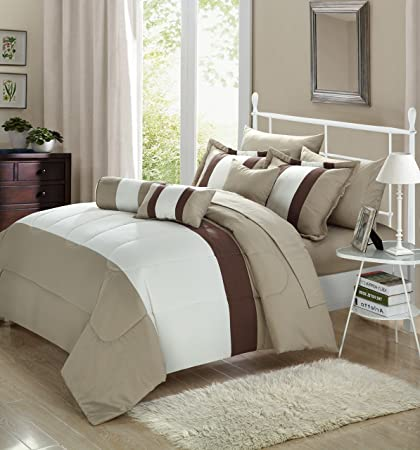 Amazon Chic Home Serenity 40 Piece Comforter Set Complete Bed Unique White Bedding With Decorative Pillows