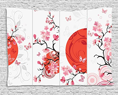 Ambesonne Nature Tapestry, Cherry Blossom Illustration Abstract Sun Butterflies Art Design, Wide Wall Hanging for Bedroom Living Room Dorm, 60 X 40 , Pink Orange
