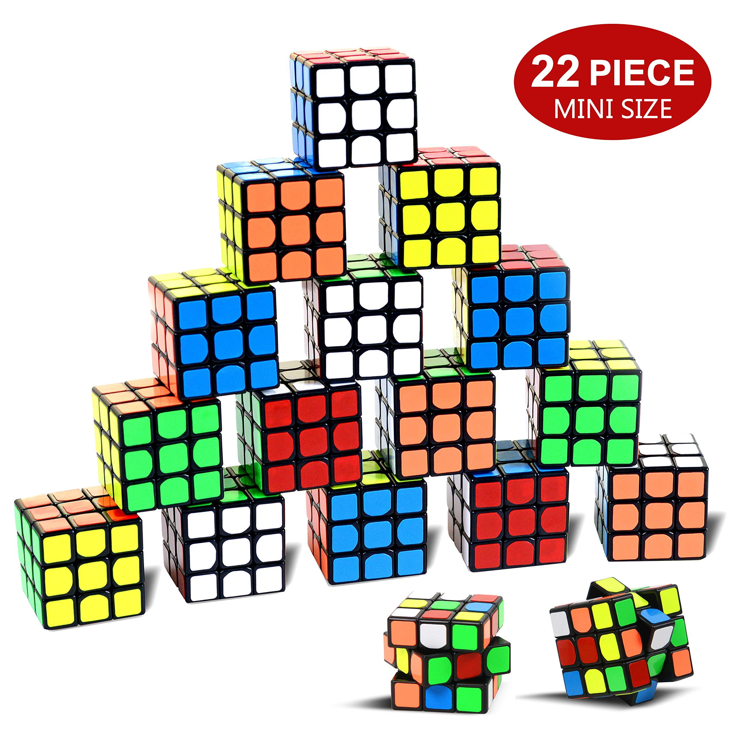 Party Puzzle Toy,22 Pack Mini Cubes Set Party Favors Cube Puzzle,Original Color 1.18 Inch Puzzle Magic Cube Eco-Friendly Safe Material with Vivid Colors,Party Puzzle Game for Boys Girls Kids Toddlers by Original Color