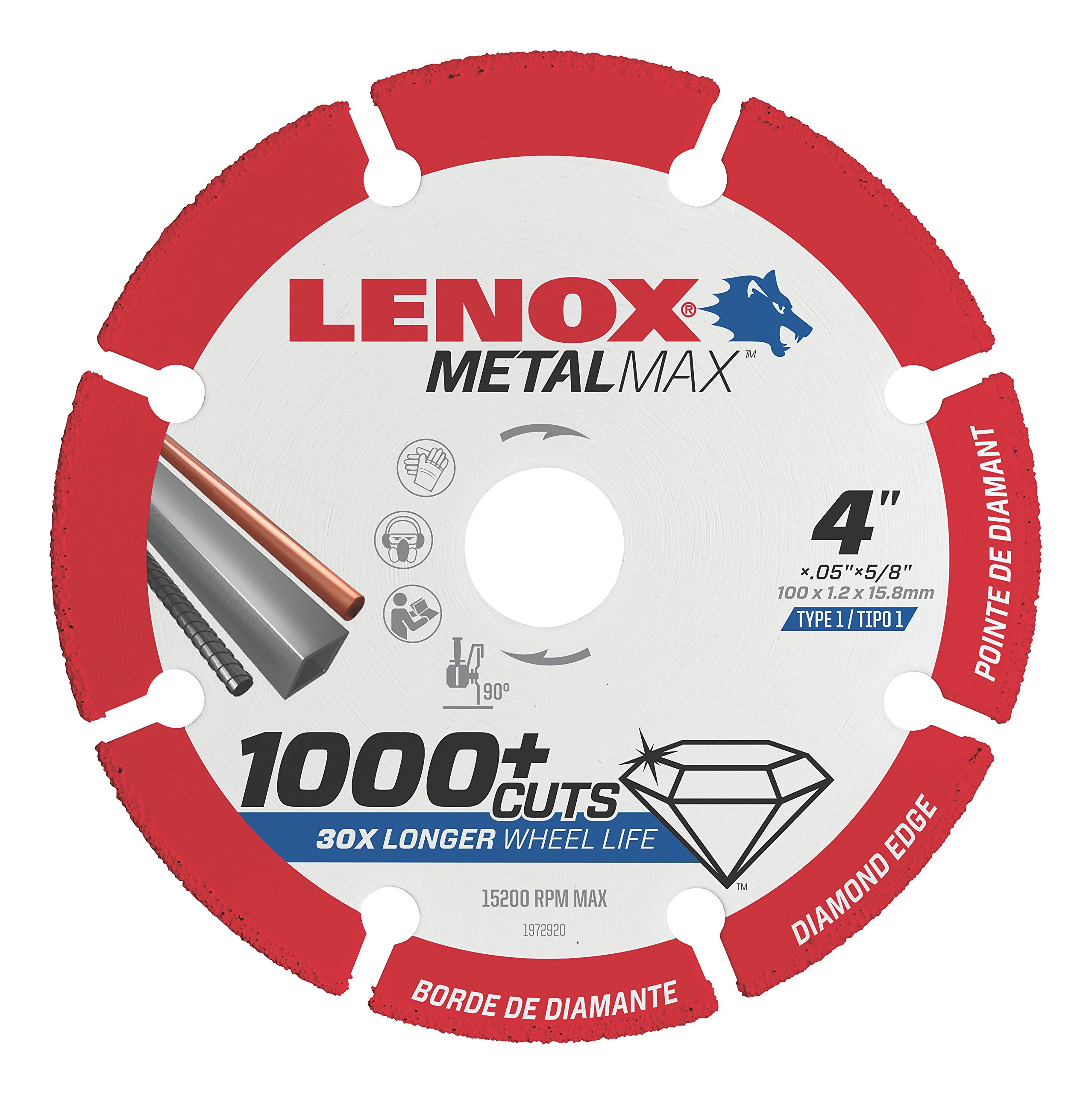 Lenox Tools 1972920 METALMAX Diamond Edge Cutoff Wheel, 4'' x 5/8'' by Lenox Tools