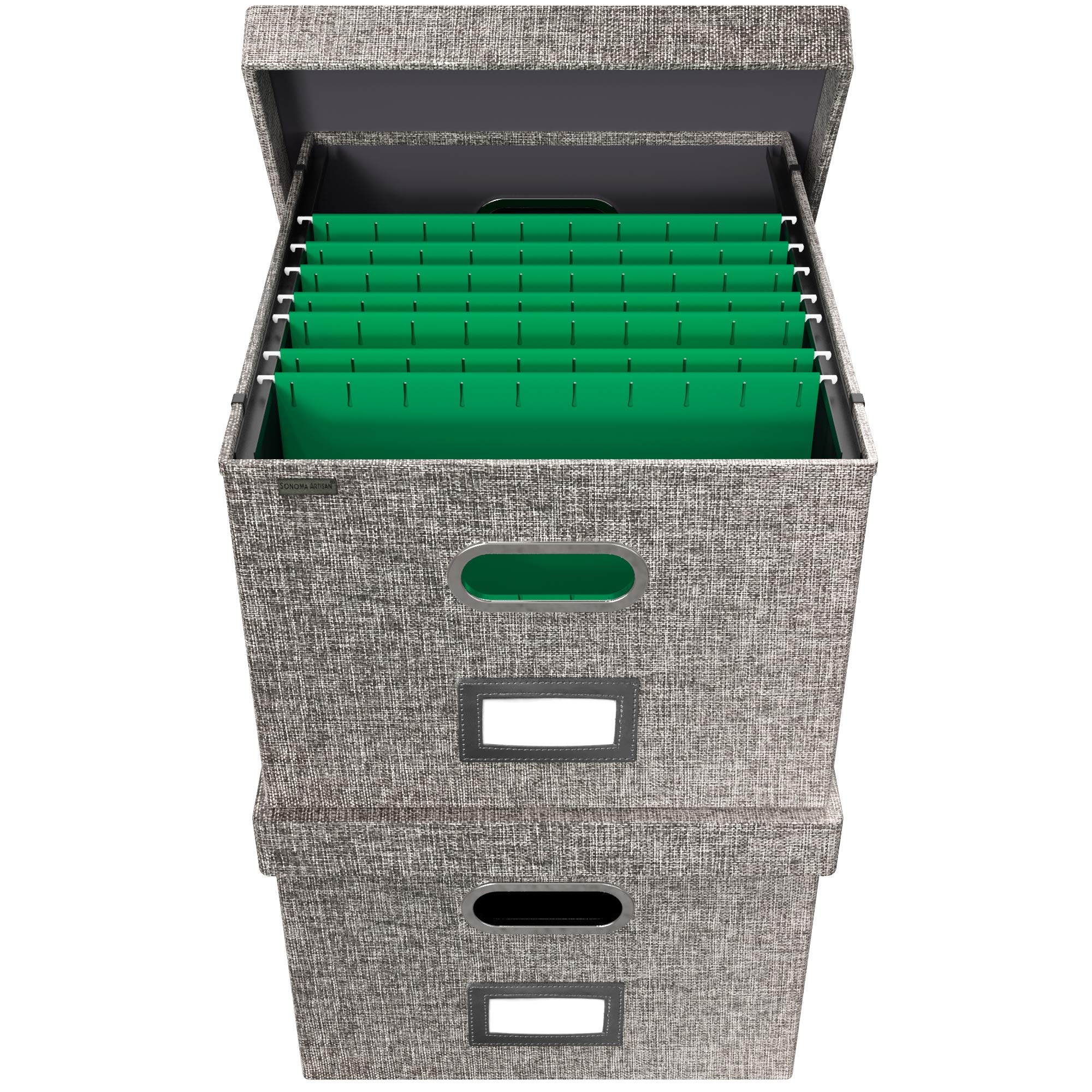 File Boxes for Hanging Files   Decorative Hanging File Folder Organizer with Lid   Portable Filing Box Features Patent-Pending Folder Glides for Easy Movement   Gray Linen, Set of 2 by Sonoma Artisan