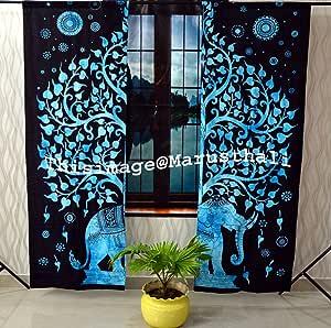 Cortina de elefante de árbol de la vida hippie bohemia hecha a mano, incluye 2 paneles de cortina de mandala, doble tapiz, cortinas y cenefas, cortina de tratamiento de ventana vintage: Amazon.es: