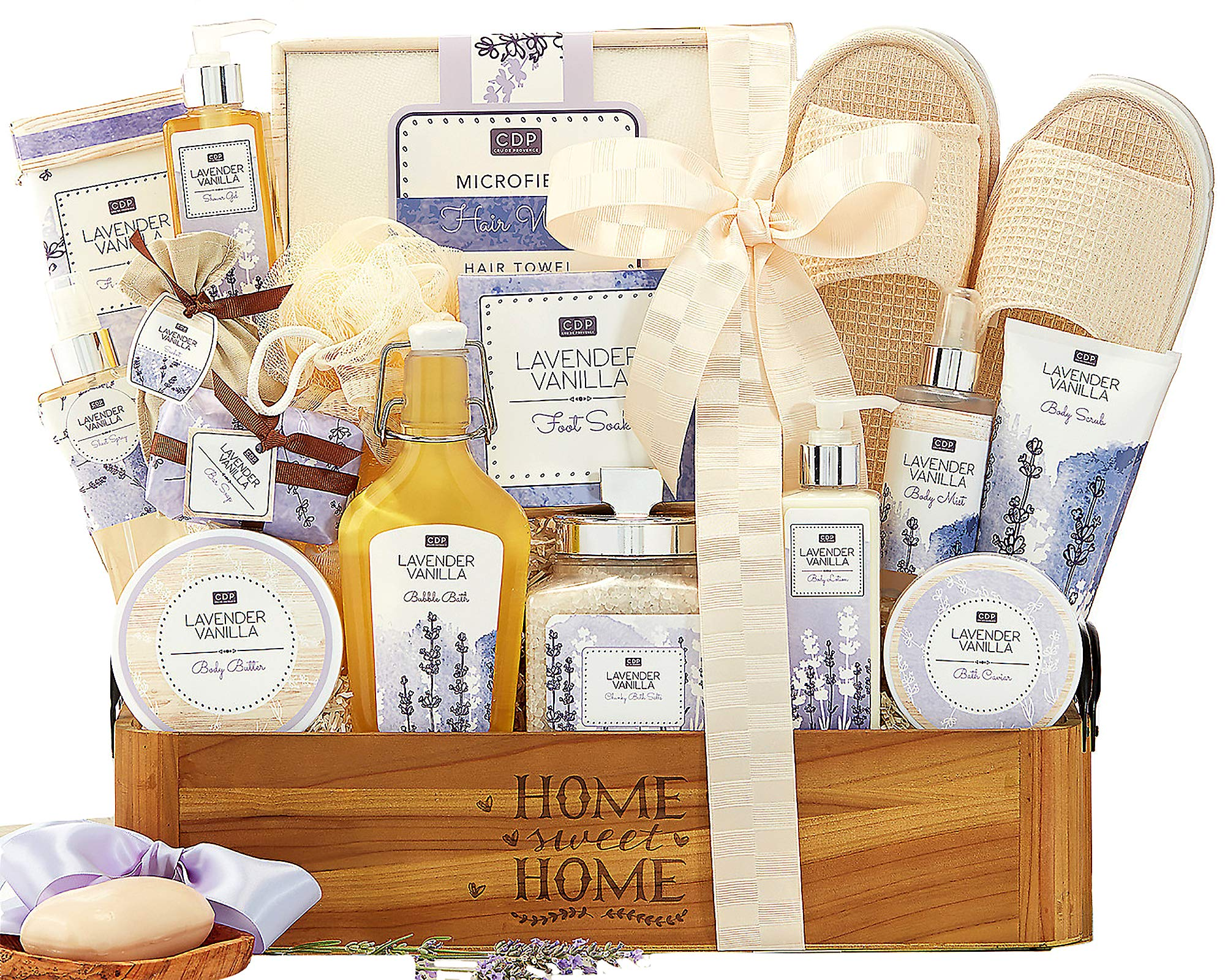 Lavender Vanilla Spa Experience Gift Basket Spa Gift Contains Bath Salts, Bath Caviar, Body Lotion, Body Scrub, Body Butter, Shower Gel, Bar Soap, Body Scrub and More ! by Wine Country Gift Baskets (Image #1)